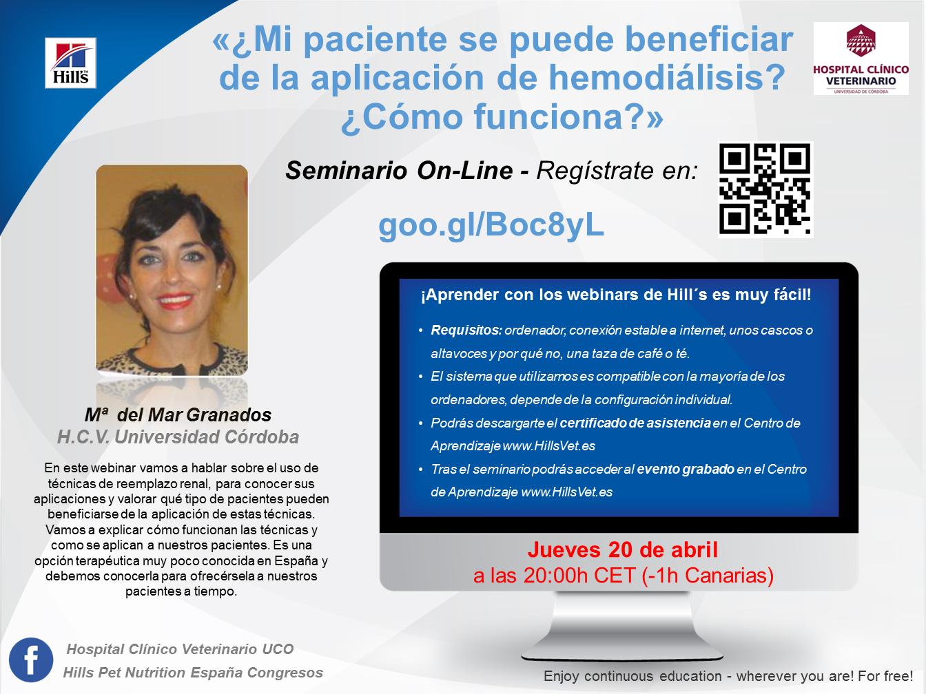 Invitación Webinar Hemodialisis_M Mar Granados_20 de abril 2017