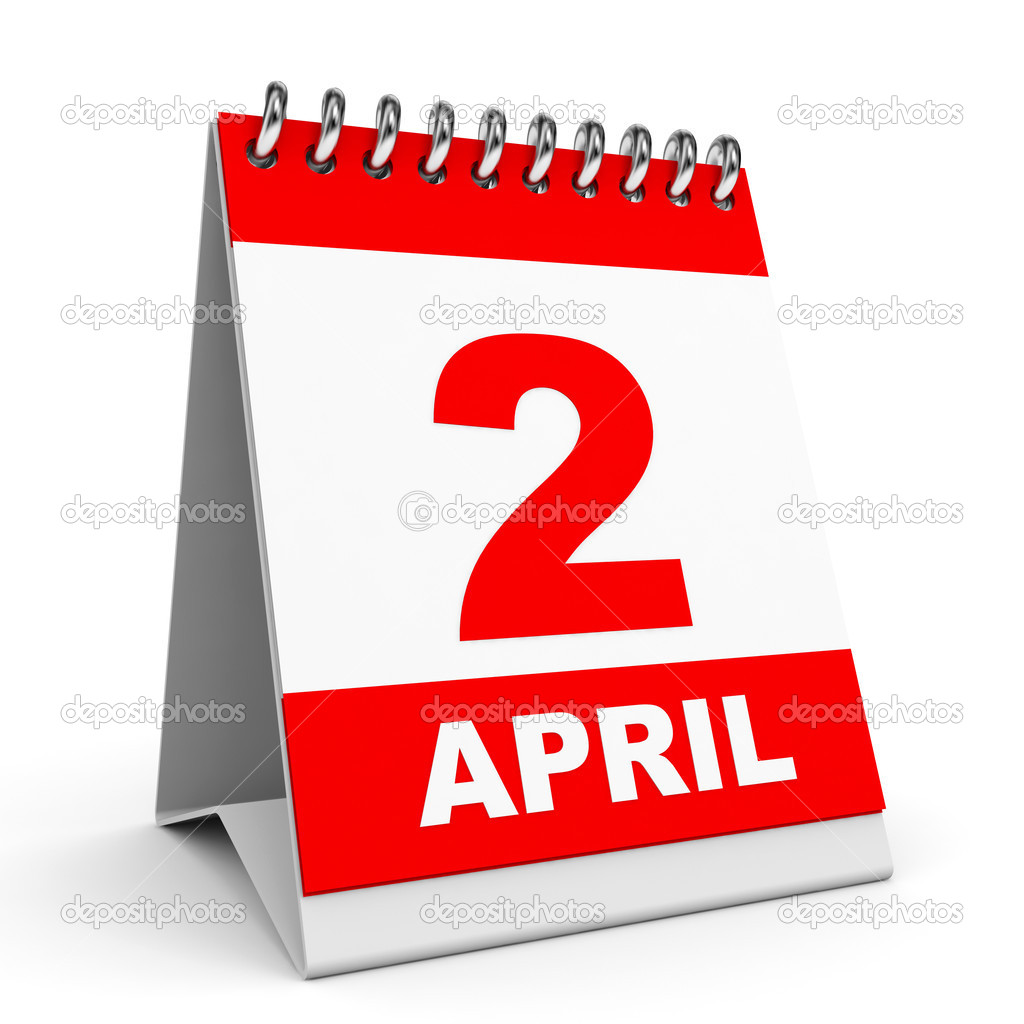 Calendar on white background. 2 April. 3D illustration.